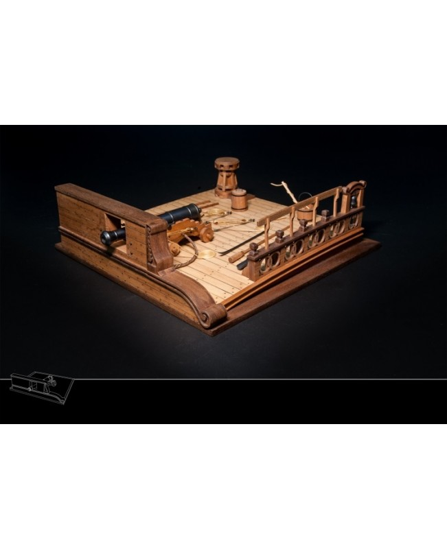 Ancient Battleship Deck 8 Pound Cannon Scene Model Kit Wood Ship Model kit