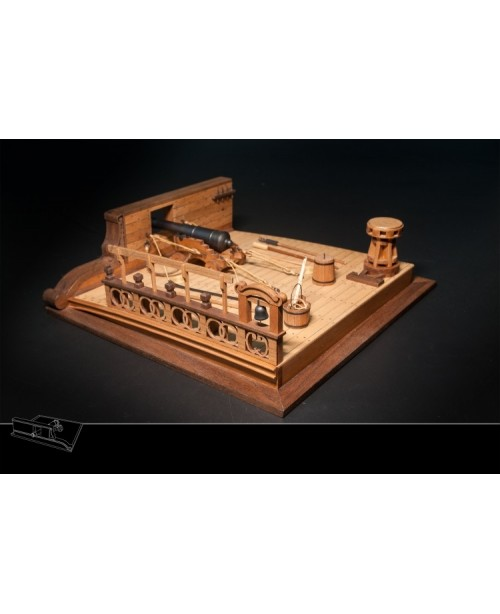 Ancient Battleship Deck 8 Pound Cannon Scene Model...