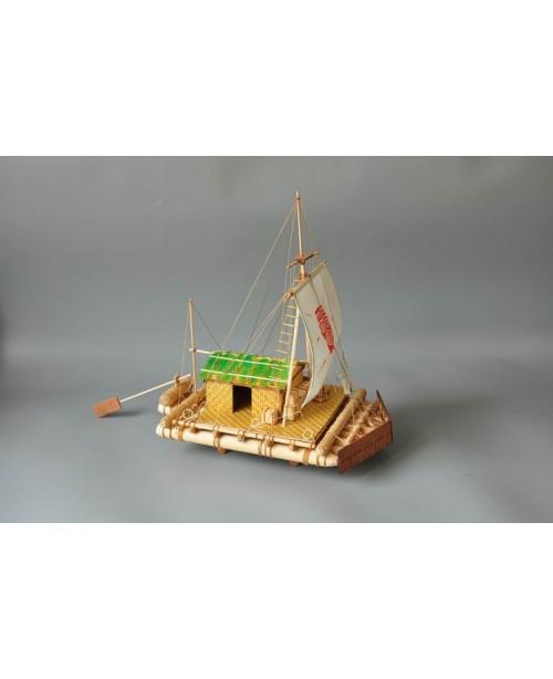 """Kon-Tiki Raft Scale 1/18 15.8"""" Wood Model Shi..."""