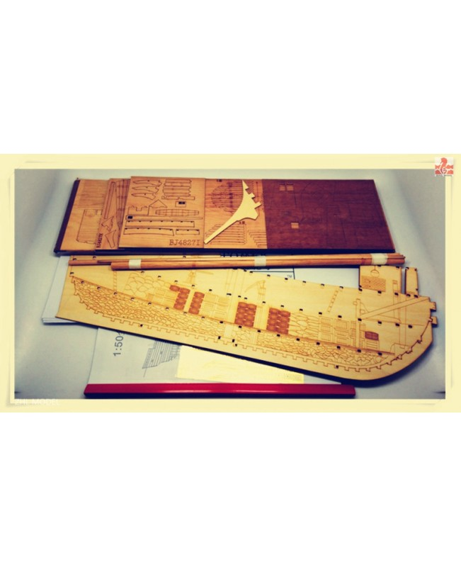 "Mayflower Full rib Cross Section Scale 1/48 25"" Wooden Model Ship Kit"