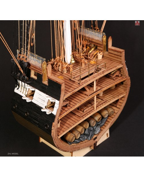USS Constitution Scale 1/75 Cross Section Wooden M...