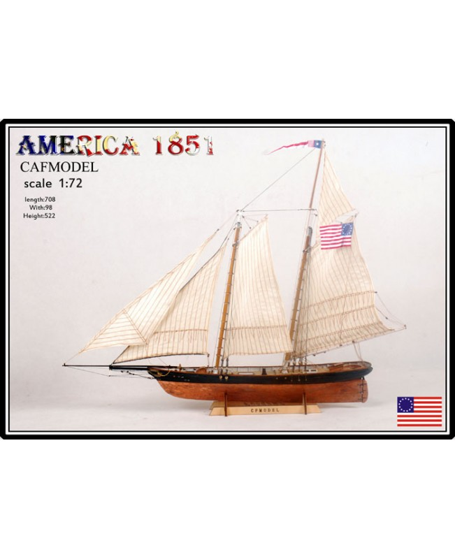 America 1851 America Cup Scale 1/72 27'' Wooden ship model kits