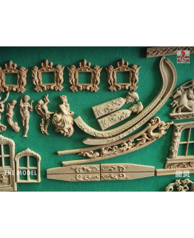 "HMY Royal Caroline 1749 Pear wood Carving pieces only Scale 1/50 33"" Wood model Ship kit"