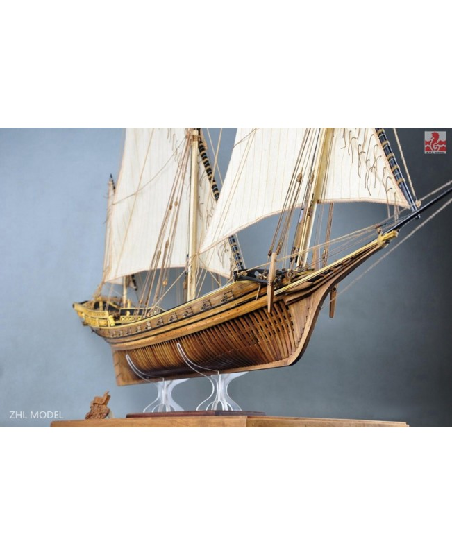 "LE REQUIN 1750 (Brand:Luhaiqingkong) Full Rib Version And Liftboat 1/48 47.6"" Model Kit Ship pear carvings"