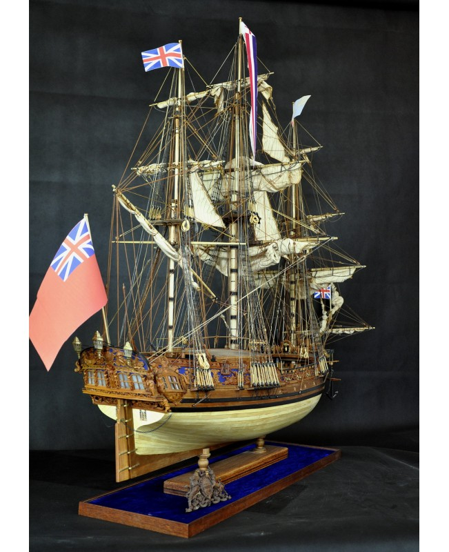 HMS Royal Caroline 1749 Pear Carvings With Mast 1/...