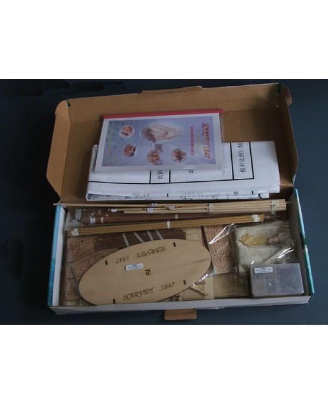 "HARVEY 1847 Scale 1/50 921mm 36.2"" Wood Model Ship Kit"