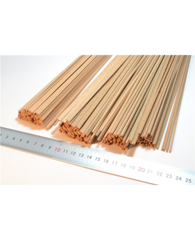 Red beech wood strips 0.6-2mm Thick 25 pieces wood model ship kits