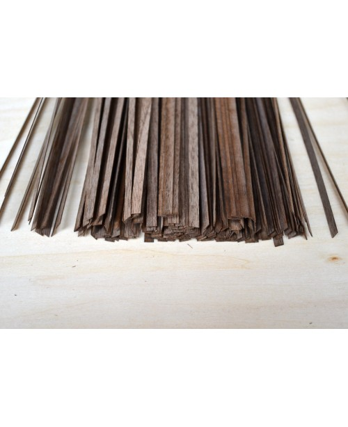 Black Walnut Wood Strips 0.4mm Thick 50 Pieces